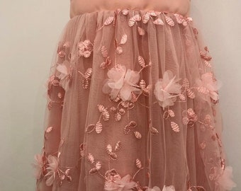 floral girl dress dress girl party birthday communion confirmation bridesmaid ceremony dress pink tulle tailored kids fashion fashion