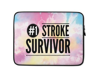 Number 1 Stroke Survivor Colorful Laptop Sleeve High Quality Gift for Stroke Survivors