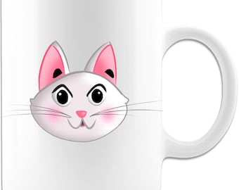 Fun Cartoon Cat Mug for Children and Cat Lovers, Hot Chocolate and Coffee Mug Gift for Cat Fans