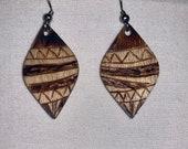 Handmade Wood-Burned Earrings - Topsy Turvy