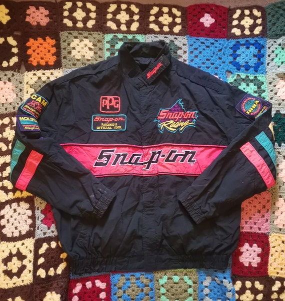 Vintage 90s Snap-On Racing Neon Embroidered Windbr