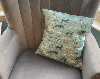 Greyhounds Accent Pillow Classic Dogs  Green Animals Brown Whippet Rectangle Lumbar Throw Pillow by Spoonflower Sighthounds by iizzard