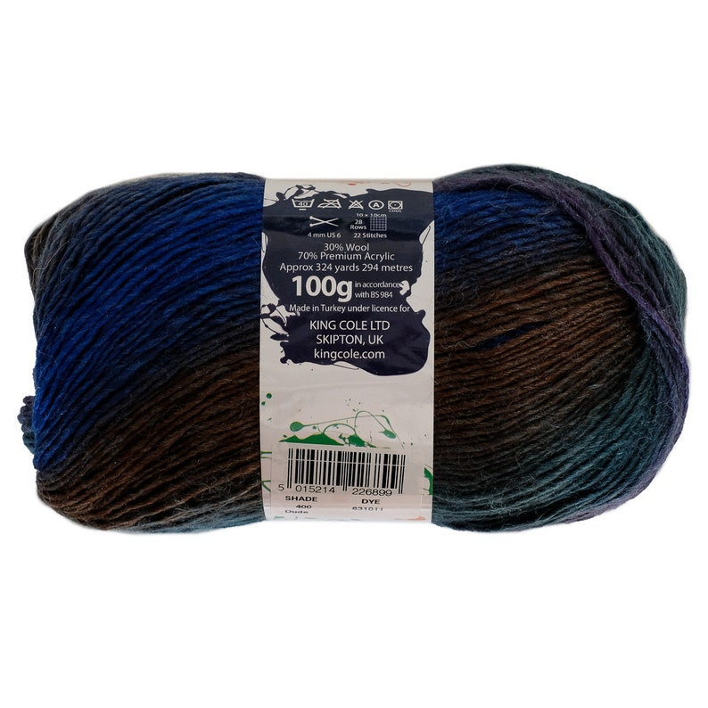 400 Dude King Cole Riot DK Colour Changing Wool Blend Sock Yarn 100g