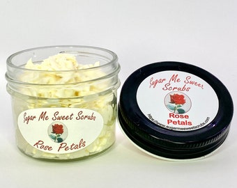Rose Petals, Exfoliating Scrub, Luxury Skincare, Facial Cleanser, Sugar Scrub, birthday gift, Gentle Face Scrub, Gift for Her, Body Cleanser