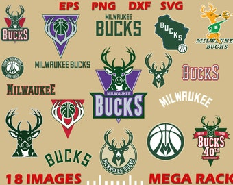 Milwaukee SVG and Studio 3 Cut File Stencil and Decal Files Logo for Silhouette Cricut SVGS Cutouts Basketball Decals Logos Bucks Buck