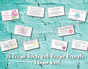 Prayer Prompt Cards for Kids | Prayer Box | Prayers for Children | Journal Prompts |