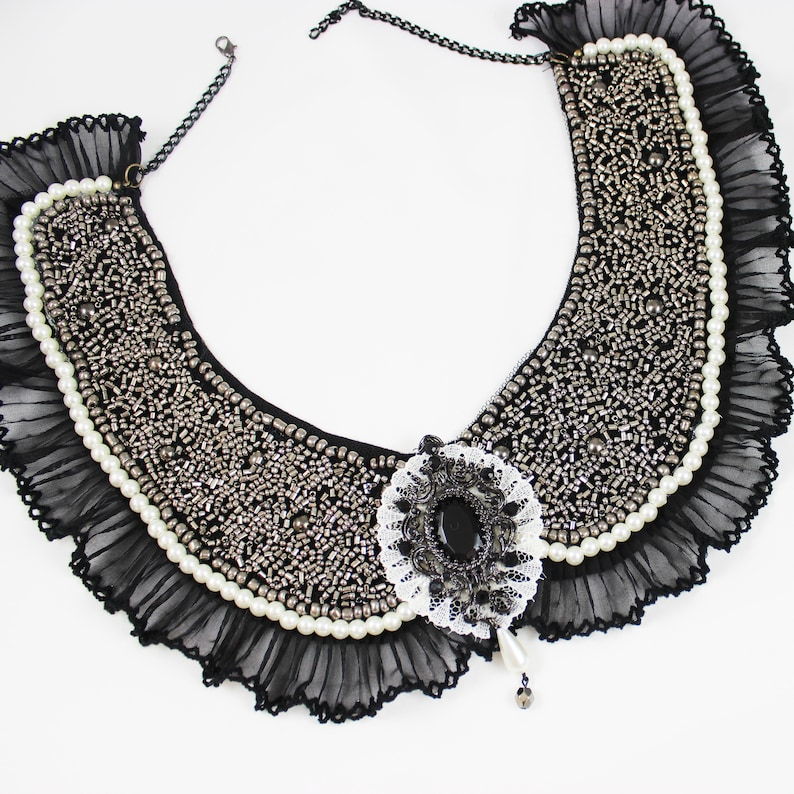Handmade Black Victorian Collar Necklace Fashion Accessory with Beads Pearls Lace and Pendant