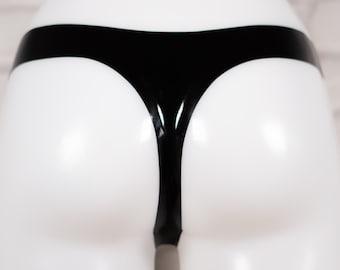 PVC Black Front Zipper Briefs Wet Look Thong Underwear High Waist Ships From USA