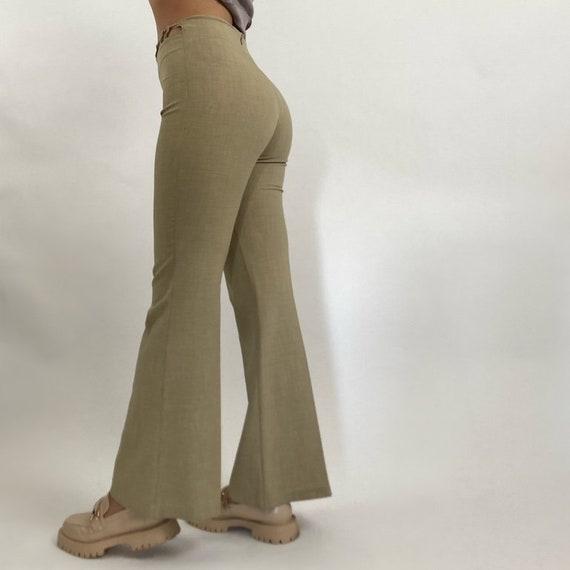 Vintage 90's Monaga Tan Flare Cutout Trousers - image 3