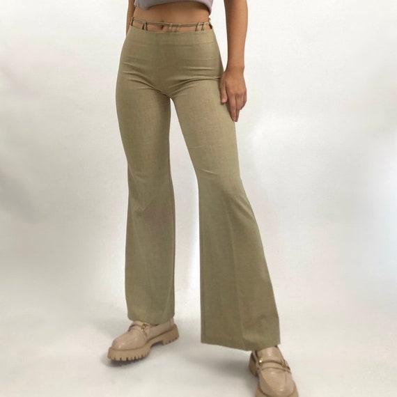 Vintage 90's Monaga Tan Flare Cutout Trousers - image 4