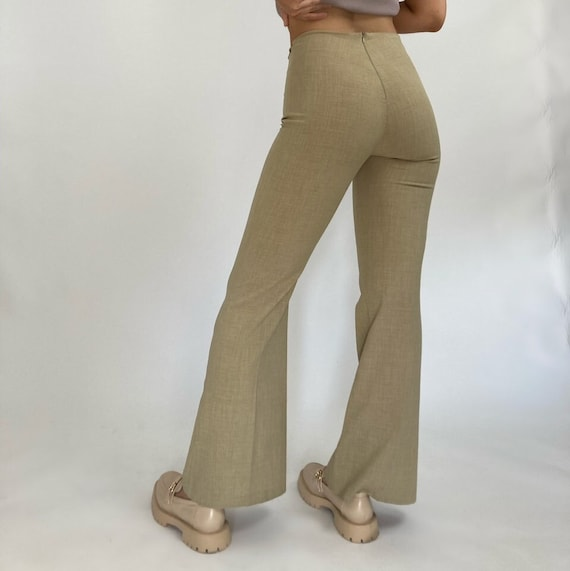 Vintage 90's Monaga Tan Flare Cutout Trousers - image 1