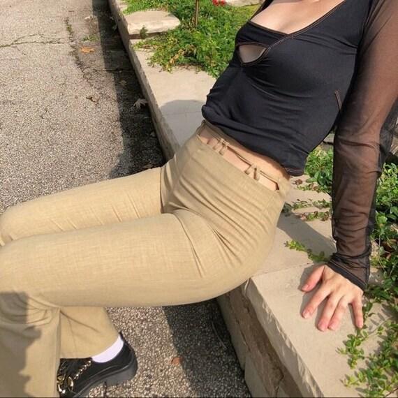 Vintage 90's Monaga Tan Flare Cutout Trousers - image 5