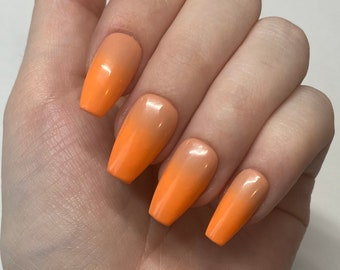 Neon Orange Ombré / Bright Neon Orange and Peachy Nude Ombré / Summer Press On Nails