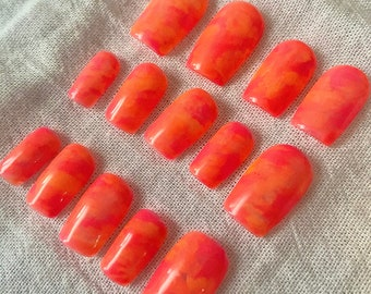 Neon Tie Dye / Neon Pink and Neon Orange Tie Dye Marble Nails / Press On or Glue On Gel Nails