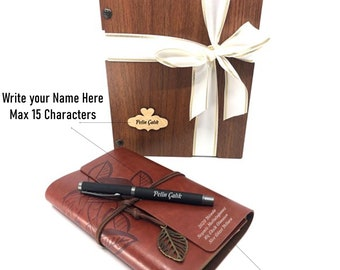 Beautiful Bespoke Stationery Personalised Monogram 3pc Pen Set w Gold or Silver Detailing in Customised Wooden Gift Box Scribe in Style