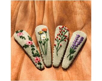 hair clip for baby hair clip for girl Hand embroidery clips Set 5 PCS Embroidered hair clips Embroidery snap clip