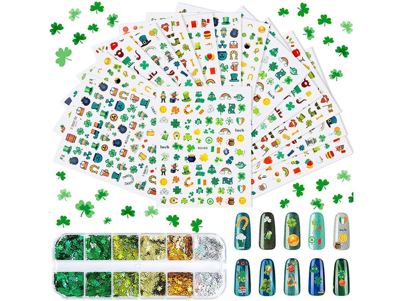 Patrick/'s Day Nail Sticker Shamrock Nail Art Sticker Irish Self-Adhesive Nail Decal and 12 Box Shamrock Nail Above 1200 Pieces 14 Sheets St