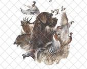 German Wirehaired Pointer Hunting Png, Dog Png, Sublimation Digital , INSTANT DIGITAL DOWNLOAD , Digital Print Design