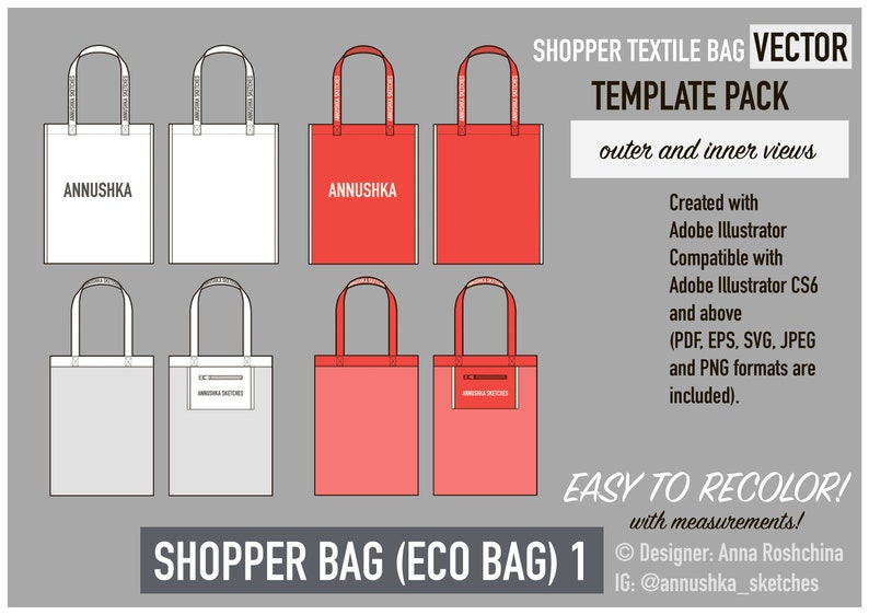 eco-bag, tote bag Adobe Illustrator template for branding and merchandising style 1 Fashion design vector shopper textile bag