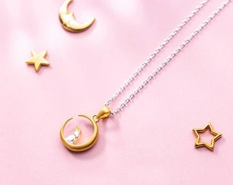 Silver Bunny in the Golden Moon, 925 Sterling Silver
