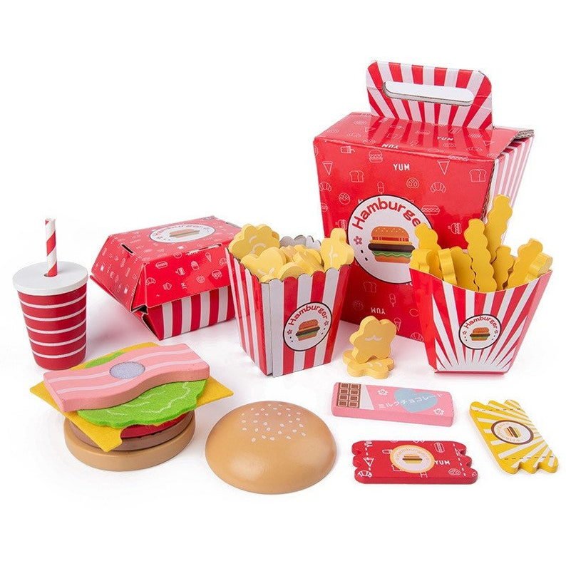 Educational Toy Pretend Play Toy Set Food Toys Kitchen Toys Wooden Hamburger-Making Pretend Play Food Set Perfect Gift for Kids