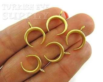 Ethnic Jewelry Gold Crescent Charms Double Horn Pendant Double Horn Charms Mini Crescent Pendant 22k Gold Plated Gold Moon Charms 5pc