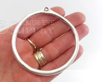 Circle Link Silver Round Charms Big Hole Pendant Closed Twisted Hoops Loops Connectors 2 Silver Plated Large Circle Pendant