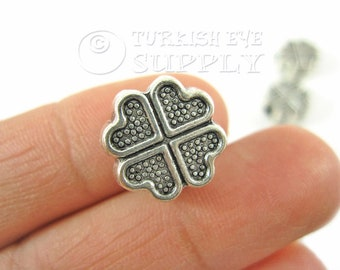 Silver Spacer Antique Silver Plated Bracelet Spacer Bead Rustic Beads Leather Bracelet Beads Clover Tube Spacer Silver Jewelry 10pc