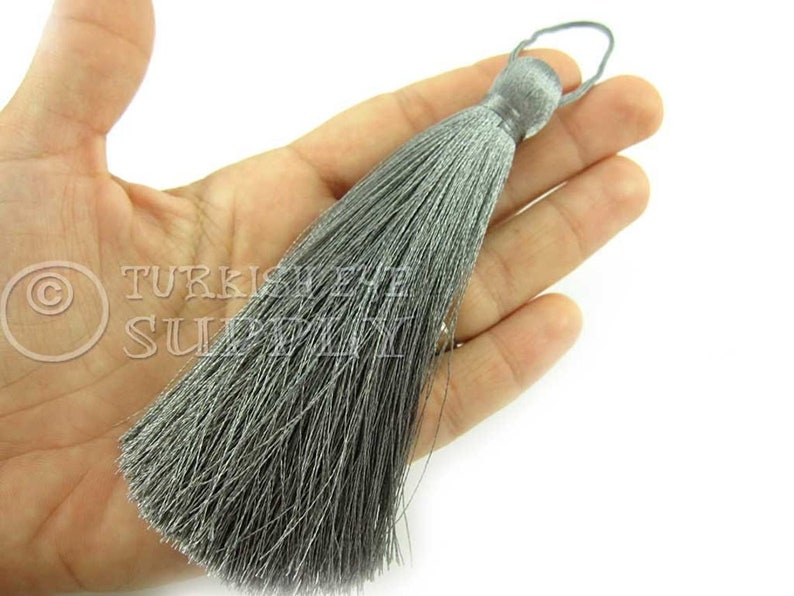 1 pc Home Deco Hand Made Tassel Silk Thread Tassel CC675 Extra Large Thick Gray Thread Tassel Mala Tassel
