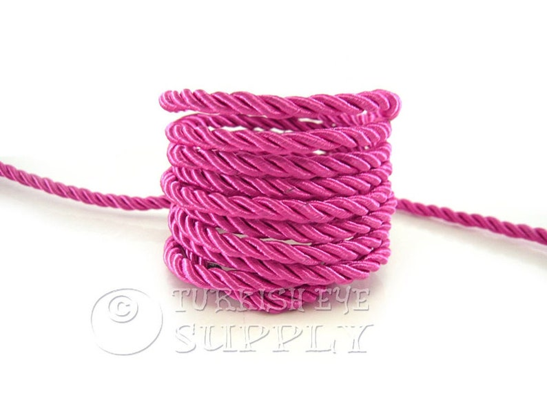 Hot Pink Cord Bracelet Cord Jewelry Supplies Necklace Cord 1 Meter Rayon Satin Cord Twisted Silk Rope Silk Braid Cord 5mm Cord