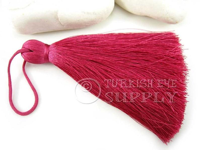 Bookmark Tassel 1 pc CC325 Large Thick Dark Pink Thread Tassel Hand Made Tassel Silk Thread Tassel Mala Tassel