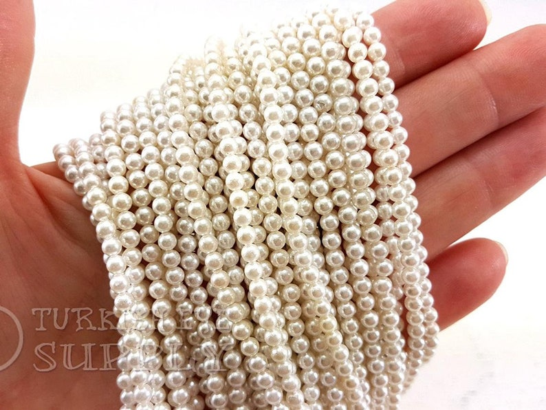 One 1 Full Strand Semiprecious Gemstone Beads 3.5 mm Pearl Bead Strands Loose Beads White Majorca Pearl Beads