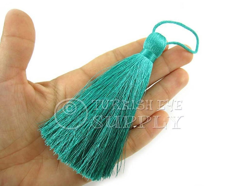 Tassel Necklace Tassel Finding CC906 Hand Made Silk Thread Tassel Silk Tassel Jewelry Supplies Large Thick Turquoise Silk Tassel