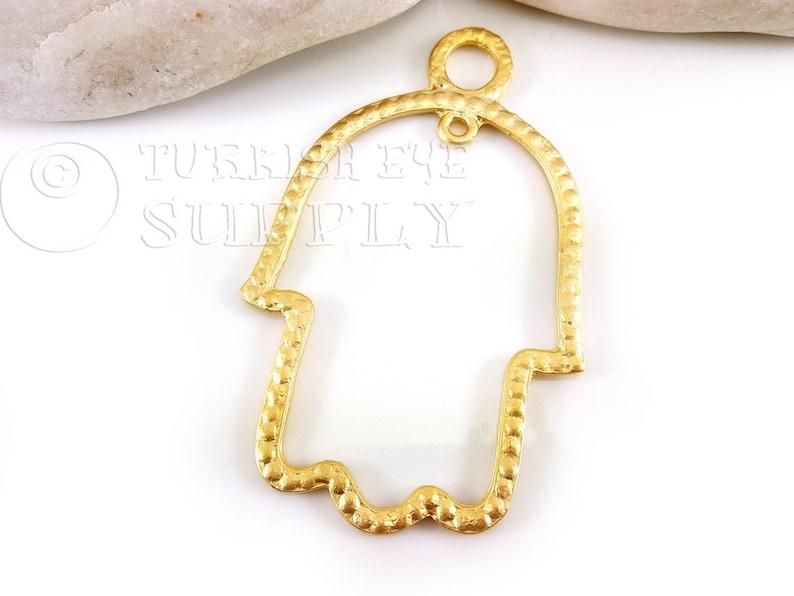 Large Hamsa Necklace Charm Hand of Fatima Hamsa Frame Pendant Large Hamsa Pendant Turkish Jewelry 22k Gold Plated Hamsa Cut Out Hamsa