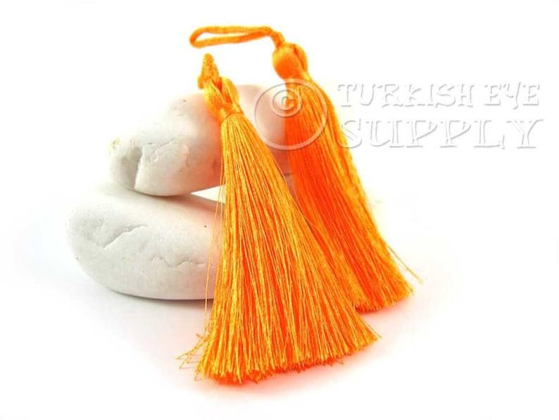 2pc Tassel Earring Findings Blaze Orange Silk Tassel Mala Tassel Key Ring Tassel Turkish Tassel Hand Made Silk Thread Tassel
