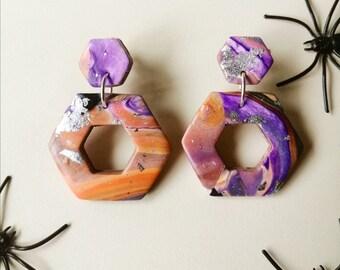 Transylvania Polymer Clay Earrings ︱Handmade︱Halloween︱Purple︱ Silver︱ Orange