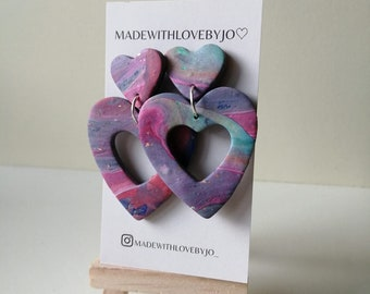 Violet Polymer Clay Earrings ︱Handmade︱Purple︱Pink︱Lilac Love ︱Heart︱ Marble
