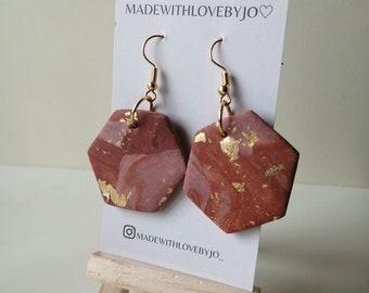 Gaia Polymer Clay Earrings︱Handmade︱Autumn︱Brown︱Pink ︱ Gold