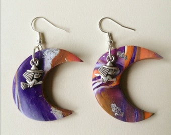 Bewitched Polymer Clay Earrings ︱Handmade︱Witch ︱ Halloween Moon︱ Purple ︱Orange ︱Silver