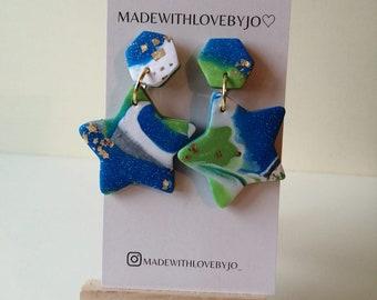 Réalt na Mara Polymer Clay Earrings ︱Star︱Handmade︱Blue︱Green︱Sea