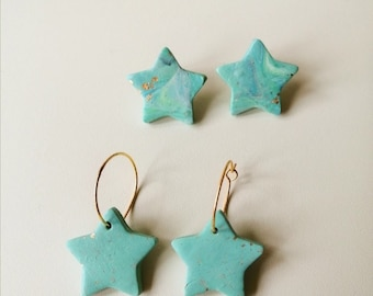Sapphire Stars Polymer Clay Earrings︱Handmade︱Blue︱Green︱Sea
