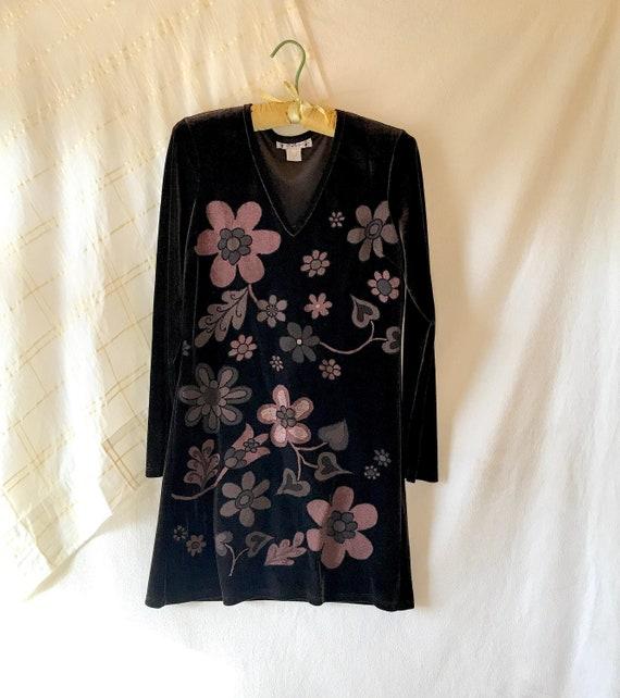 Velvet floral dress, brown velvet, velvet mini dre