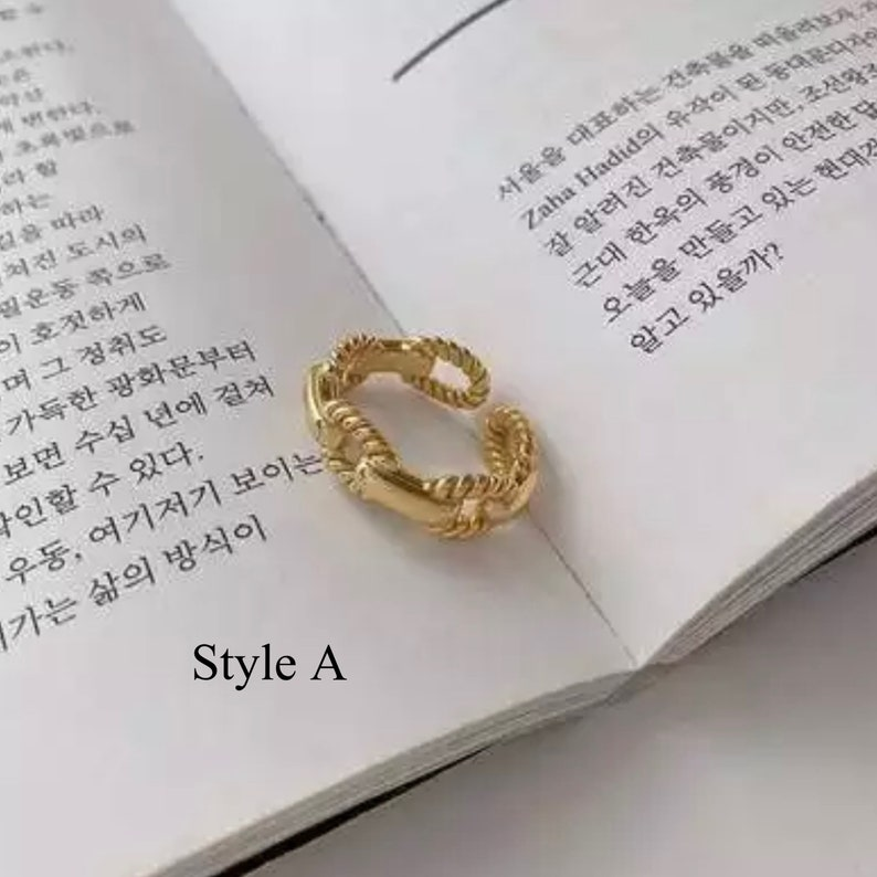 Gold Chain Twist Ring Stackable Adjustable French Fashion Modern |Jewelry