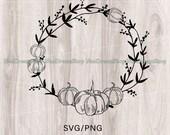 Pumpkin Wreath Png-Svg, Thanksgiving Laurel Frame, Autumn Wedding Logo Label Design Png-Svg,Pumpkin Wreath File For Shirt,Mug,Digital