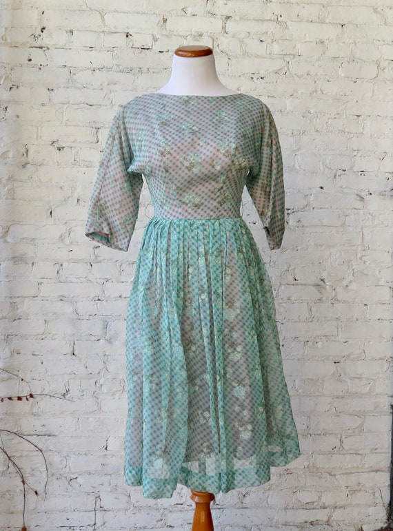 1950s Gingham Day Dress