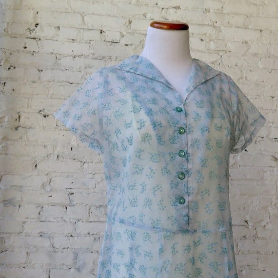 1950s Sheer Chiffon Day Dress - image 7
