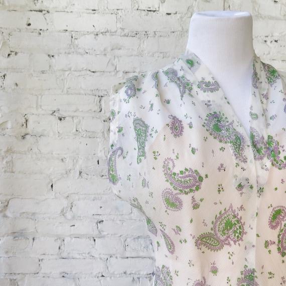 1950s Sheer Crepe Chiffon Day Dress - image 2