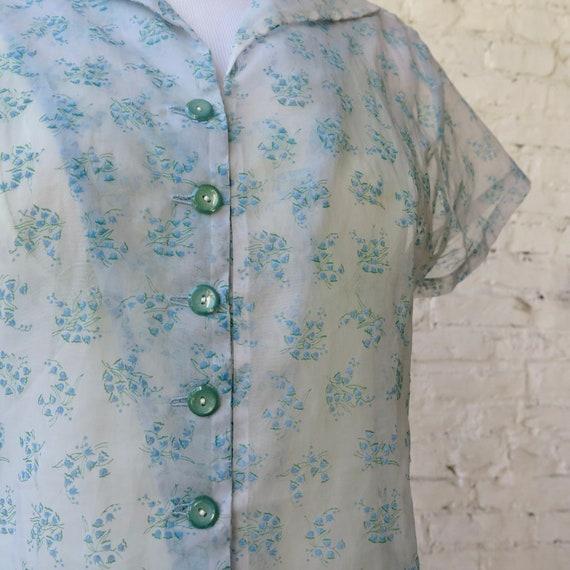1950s Sheer Chiffon Day Dress - image 3