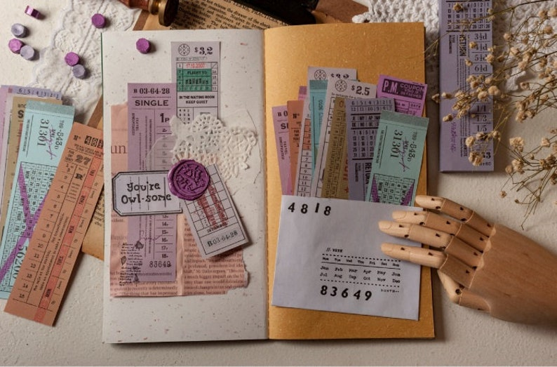 Scrapping book DIY making 120 sheets Bullet journal including 12 styles Train tickets. Vintage long tickets package Card making