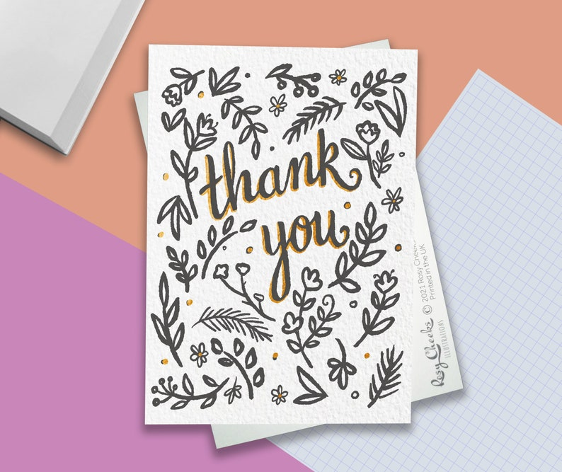 black leaf and bronze Thank You card